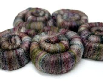Punis Rolags Merino & Silk Tapestry Fine Merino Wool XL Spinning and Felting Fibre 50g 100g