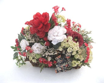 WiNTER BASKET number TEN floral arrangement centerpiece  for the holidays AND beyond