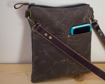 WAXED CANVAS  Day Bag, Cross Body Bag, Messenger Bag with Leather Strap Available in 2 sizes - Dark Oak