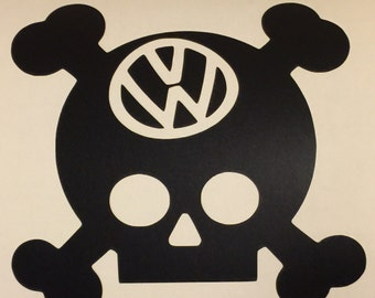 VW Skull, skull and crossbones, VW, decal, vinyl, car,