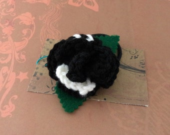 Crocheted Rose Ponytail Holder or Bracelet - Black and White (SWG-HP-ZZ15)