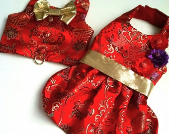 Satin pet dress and vest Beautiful satin Chinese brocade for the girl dog and or boy dog Yorkie Chihuahua