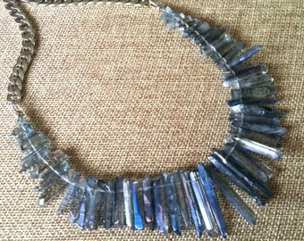 Blue Crystal Bib Necklace -  Mystic Blue Crystal Quartz Point Necklace on Thick Silver Curb Chain - Bohemian Crystal Jewelry