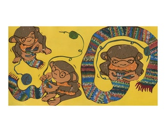 Knitting Monkeys 16 X 20 print