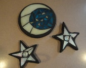 Moon and Stars, Floating Stained Glass Garden Mosaic Sculptures, Outdoor Rooms, Home Decor, Pond Ornament, Water Garden Decor, Garden Beds