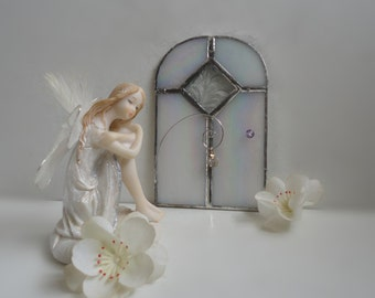 "Fairy Door, Stained Glass, Sculpture, Garden Art, Home Decor, Fae Door, Portal, Miniature, Faerie, Magical, Terrarium, ""Winter Fairy"""
