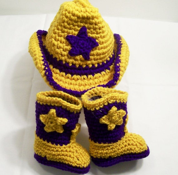 Baby Boy Gift Gold : Baby crochet western lsu colors cowboy boots hat by togs tots