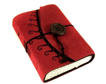 Handmade Leather Journal, Painted Suede, Swirly