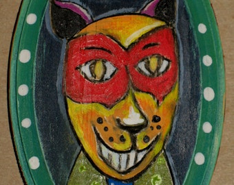 Edgar: Original Mixed media painting on wood