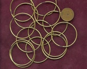 """Brass ENDLESS HOOP EARRINGS Vintage (5 pair) 10 pieces 36 mm size 1 3/8"""" size  9316 MoRE AVAlLABLE"""