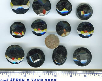 Black Glass Victorian Buttons Antique Lot of (12) Large Vintage FACETED 2637