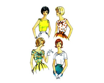 1960s Misses Blouses Simplicity 3915 Vintage Sewing Pattern Size 14 Bust 34