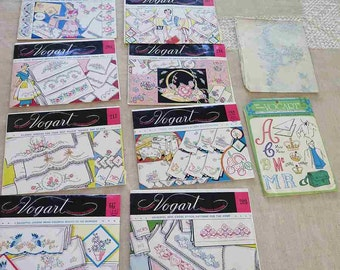 Lot of 9+ VOGART Transfer Patterns for Embroidery Pillowcases Towels Linens Aprons