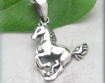 Running Horse Necklace, Sterling Silver, Horse Pendant, Western Jewelry, Equestrian Jewelry, Animal Necklace (SN899)