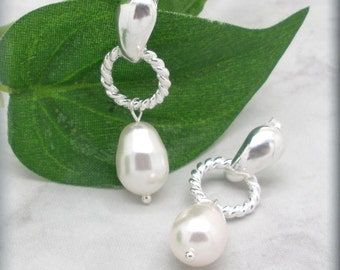 White Pearl Earrings, Twisted Wire Posts, Stud Earrings, Sterling Silver, Bridesmaid Gift, Bridesmaid Jewelry, Wedding Jewelry (SE640)