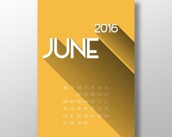 2016 printable calendar LONG SHADOW ++ 12 month printable wall desk calendar ++ INsTAnT DOwNLoAD ++ modern calendar ++ handmade design