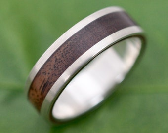 Lados Walnut Wood Ring - recycled sterling silver and walnut wood wedding band, wood wedding ring, mens wood ring, ecofriendly wedding band