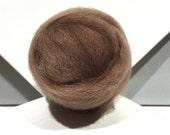 Light Brown wool roving, Felting Spinning Fiber, w/ 3 free fiber samples, Sandstone, light, neutral brown, tan *dyed to order*