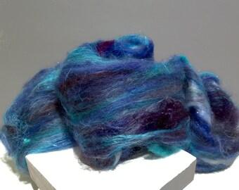"blue fiber art batt, felting wool, spinning fiber, roving, ""Blue Butterfly"", ice, sky blue, light, french blue, Royal Blue, Cerulean, purple"