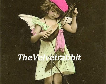 Cupid real photo*Plays mandolin*O darling*Digital download instant*Sewing.ornaments,tags,cards