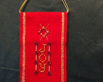 Mill Hill Finished Christmas Cross Stitch - JOY ornament - All profits go to charity