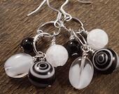 Black and white glass beads, quartz stone, handmade silver earrings