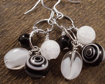 Black and white cluster, quartz stone, glass handmade silver earrings