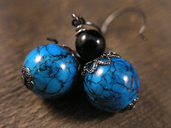 SALE turquoise blue with black marble design large glass beads handmade earrings