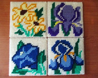 Floral Coaster/Candle Mat Set of Four Kitchen Home Decor Plastic Canvas