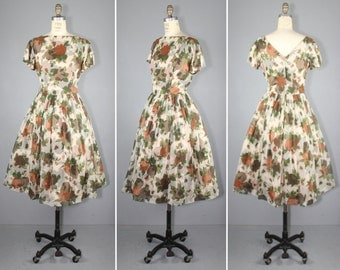 1950s / chiffon / floral / HARVEST GATHERING illusion sheer dress