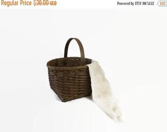Vintage woven wood basket, primitive home decor, wooden gathering handled basket, farmhouse display