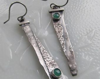 LONG Silver Earrings Rustic Dangle Earrings Green Chrysoprase Gemstone Earrings Long Dangling Asymmetric Earring Silver Funky Silver Jewelry