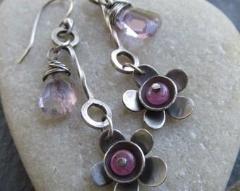 Long Dangle Earrings Pink Flower Earrings Silver Flower Earrings Pink Daisy Long Dangling Earrings Pink Sapphire Funky Silver Jewelry