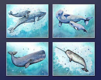 Whales!  Set of Four Super Cool Trendy Wall Art Prints.  Perfect decoration for ocean/sea/pirate themed bedroom