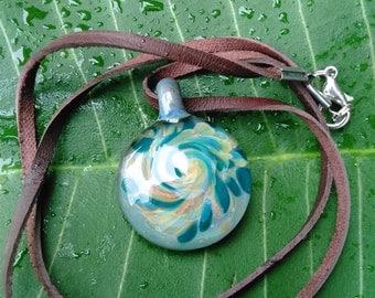 Teal Swirls Boro Pendant Necklace