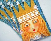 "Stardust Girl Postcards Set of 4 Printed from Original Mixed Media Painting by RememberMeEmily 4"" x 6"""