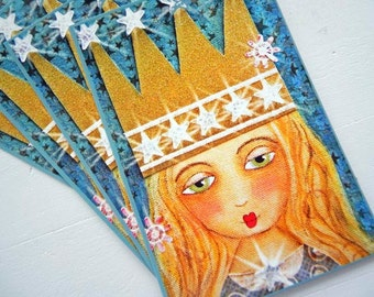 """Set of 4 Original Fine ART Postcards 4"""" x 6"""" printed from Mixed Media Painting by Emily Sytsma STARDUST"""