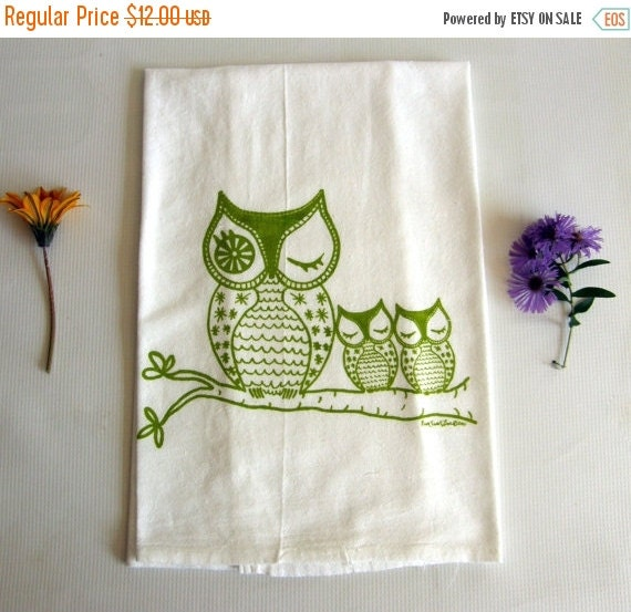Dish Towel Sale: ON SALE Owl Family Dish Towel Tea Towel Cotton By