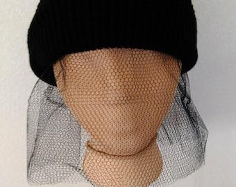 Black Beanie with Veil