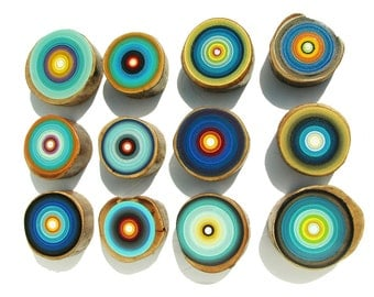 Non traditional art for a modern home or office Tree Ring paintings by Tracy Melton