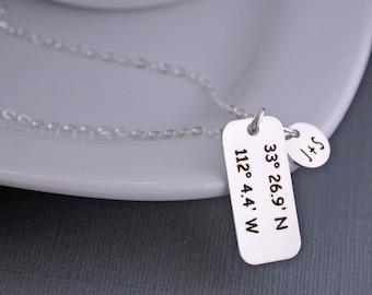 Anniversary Gift, Custom Wife Gift, Latitude Longitude Necklace, Location Necklace, GPS Coordinates Necklace, Custom Coordinates Jewelry