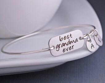 Grandma Gift, Best Grandma Ever Bracelet, Silver Grandmother Mother's Day Gift, Grammy, Memaw, Granny, Grandmother Jewelry