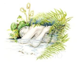 Woodland Nap, original figure drawing, nature, figure, stream, water, fresh, fantasy