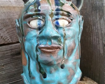 turquoise whiskey devil FACE JUG by Joel Patton