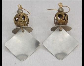 DARI - Handforged Pewter & Handmade African Beads Statement Earrings