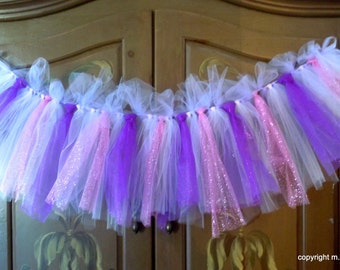 Pink and Purple tutu garland tulle tied banner bunting nursery wall window valance decoration sparkly glittery bedroom party decoration