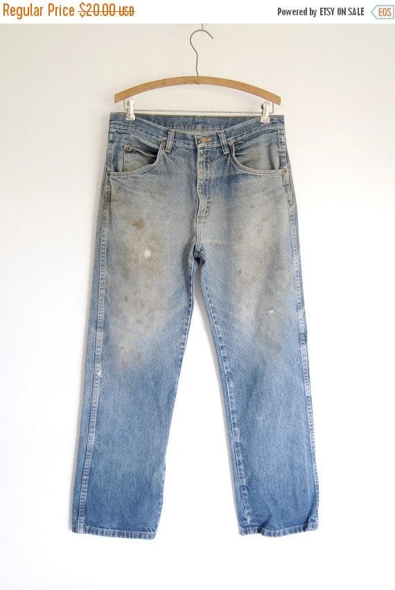 sale vintage mens destroyed blue jeans faded by shopgoodgrace. Black Bedroom Furniture Sets. Home Design Ideas