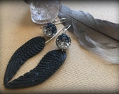 The Raven's Wings Bali Bone and Crystal Earrings