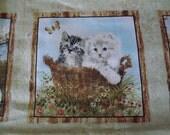 Cat panel. Kitten panel. Quilt panel. Fabric quilt panel.