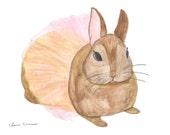 Bunny Print, Bunny Watercolor, Bunny Illustration, Bunny Art, Nursery Prints, Baby Shower Gift, Bunny Gifts, Rabbit Wall Art, Baby Girl Gift